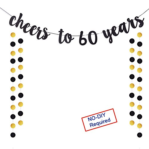 Cheers to 60 Years Gold Glitter Banner For Adult 60th Birthday Party Wedding Anniversary Party Decorations -