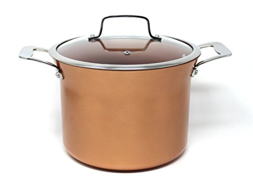 CONCORD 8.5 QT Copper Non Stick Stock Pot Casserole Coppe-Ramic Series Cookware (Induction Compatible) (Concord Rim)