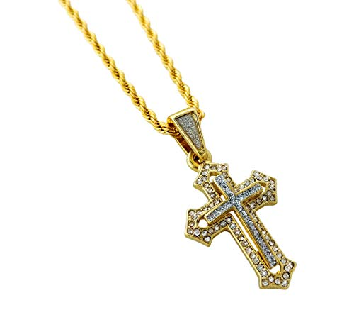 Mini Iced Out Cross Pendant Necklace with 24