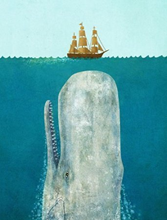 """RIGHOE The Whale and Boat With Blue Wood Framed Canvas Prints Wall Art 16"""" x 20"""""""