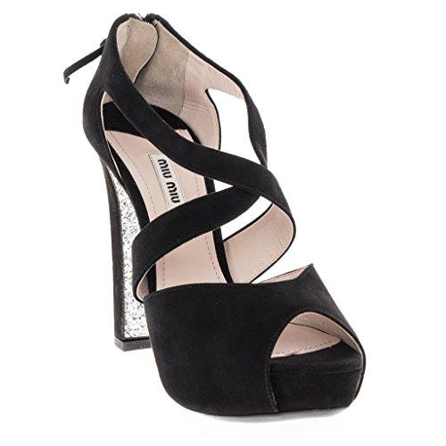 Miu Miu Women's Open Toe Pump with Glitter Sole Suede Black 39.5 M - Black Miu Miu Shoes