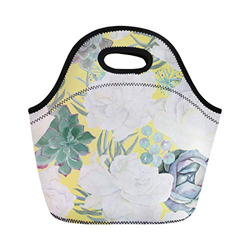 Semtomn Neoprene Lunch Tote Bag Green Boho Watercolor Painting Succulents and Gardenia Flowers Floral Reusable Cooler Bags Insulated Thermal Picnic Handbag for Travel,School,Outdoors,Work