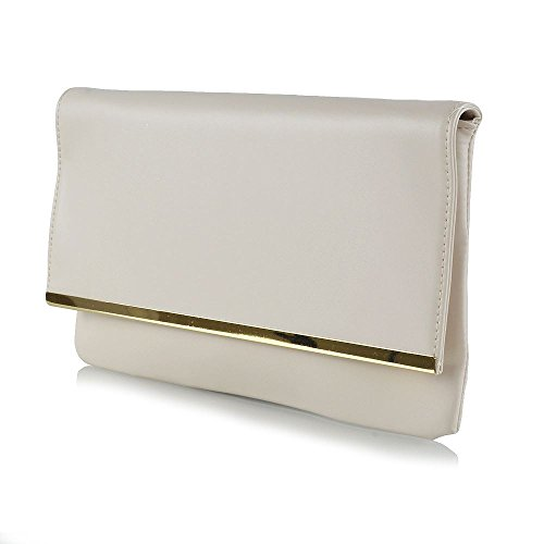 Essex Glam Womens Nude Synthetic Leather Clutch Bag Envelope Bridal Evening Purse ()
