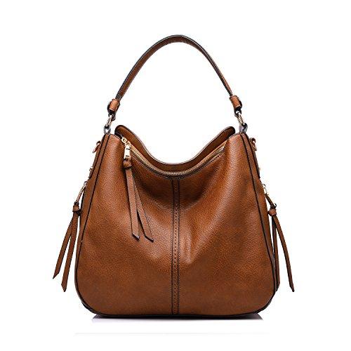 Brown Womens Messenger Bag (Realer Designer Handbag Purse PU leather Durable Shoulder Bag for Women's Messenger Bag Light)
