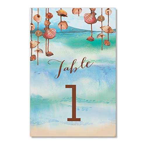 (Island Beach Table Numbers Pack of 25 Seaside Tropical Shells Theme Décor Reserved Seating Single Sided 4
