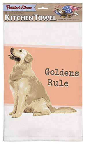 Fiddler's Elbow Goldens Rule Golden Retriever Kitchen Towel, 100% Cotton Dog Themed Towel, Eco-Friendly Dish Towel with Hanging Loop, Golden Retriever Lover Gift