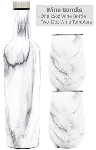 (Simple Modern Spirit Wine Bundle - 2 Wine Tumbler with Lids & 1 Wine Bottle - Vacuum Insulated 18/8 Stainless Steel - Carrara Marble)