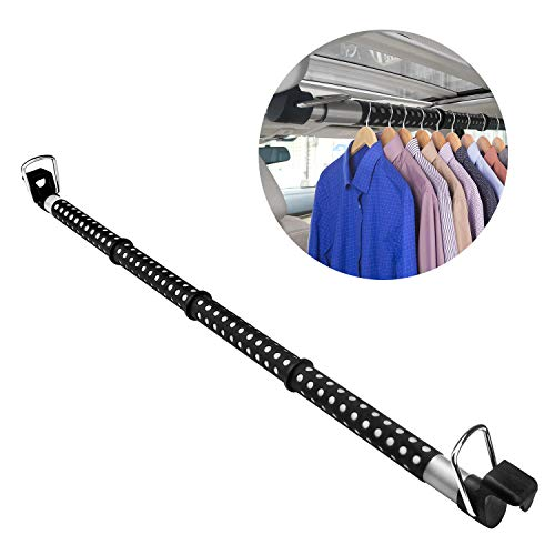 Beinhome Expandable Clothes Car Hanger Rod, Heavy Duty Metal Car Clothes Bar Expanded to 63 inches, Suitable for Most Cars, Trucks, SUVs, Vans, RVs (Automotive Clothing Rod)