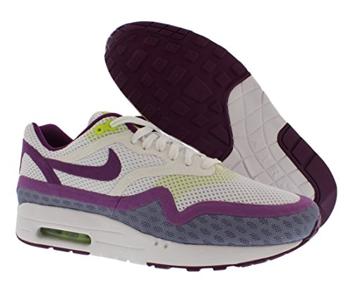 Nike Air Max 1 desnudo de los zapatos corrientes Tamaño 6.5 White/Bright Grape/Venom Green