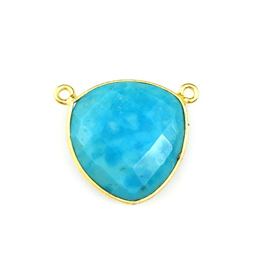 Bezel Gemstone Connector Pendant Gold Vermeil- Large Trillion - Turquoise -18mm-1 pc
