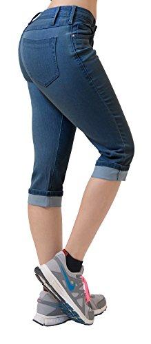 (Women's Perfectly Shaping Stretchy Denim Capri-Q22884-MEDIUM BLU-3)