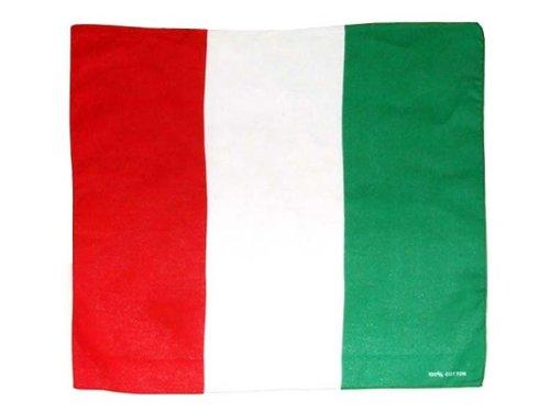 Bandana drapeau Italie (Alsino ba-04) accessoire déguisement italien rouge blanc vert unisex homme femme fille garçon de qualité supérieure 100% coton, environ 54 x 54 cm foulard zandana écharpe Trend-world
