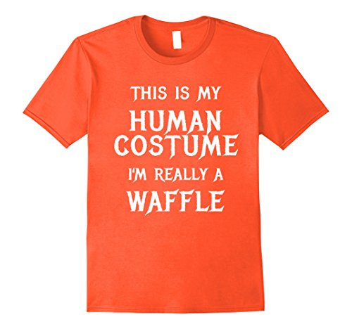Easy Teacher Costumes (Mens I'm Really a Waffle Halloween Shirt Funny Easy Costume Large Orange)