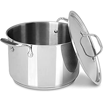 6 Quart Premium Stainless Steel Stock Pot with Lid - Induction Compatible - Multipurpose Use for Home Kitchen or Restaurant - Chef's Choice - by Utopia Kitchen