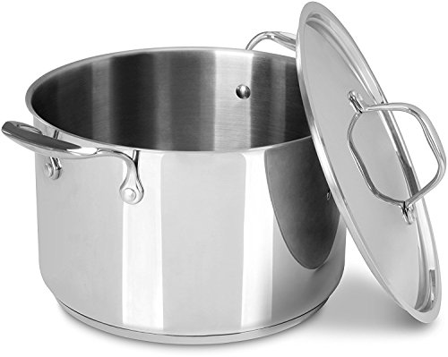6 Quart Premium Stainless Steel Stock Pot with Lid - Induction Compatible - Multipurpose