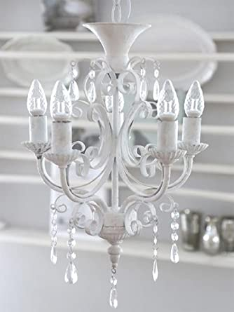 Paris Chandelier 5 Branches Style Shabby Chic Vintage En Métal Blanc Antique