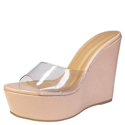 BAMBOO Women's Clear Band Platform Wedge Slide, Nude Patent PU, 7.5 B US ()