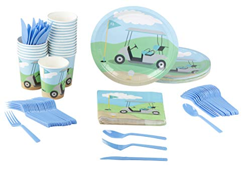 Disposable Dinnerware Set - Serves 24 - Golf Party Supplies for Kids Birthdays, Retirement Parties, Includes Plastic Knives, Spoons, Forks, Paper Plates, Napkins, Cups ()