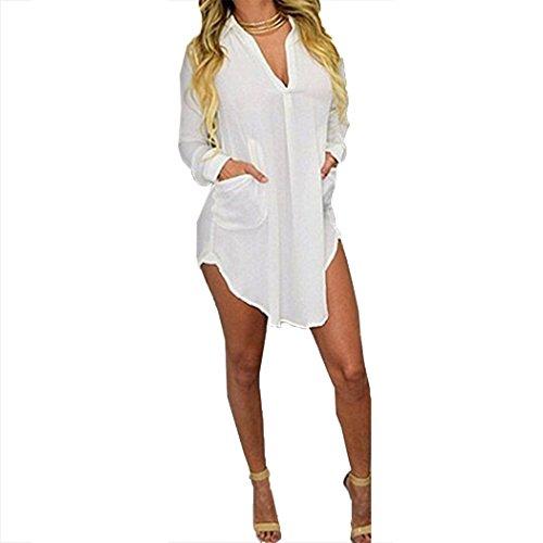 Raylans Women's Summer V Neck Chiffon Boyfriend Blouse Irregular Casual Shirt Dress White US L ()