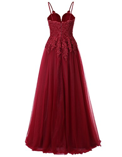 Dress Tulle Women's Spaghetti Straps Ball Ivory Lace Gown ALAGIRLS Formal Appliques Long Prom PZdqBY