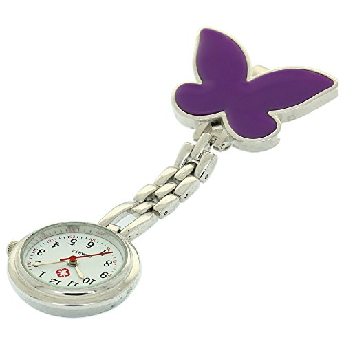 Clip-on Fob Brooch Pendant Hanging Watch Women Butterfly Design Unisex Watches Fashion Nurse Watch Clock Stainless Steel Medical Watches Pocket Clock Gift for Hospital Doctors Nursing Timepiece