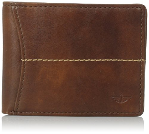 Dockers Men's Bifold Leather Wallet - Thin Slimfold RFID Blocking Security Smart Extra Capacity, - Dockers Brown Wallet