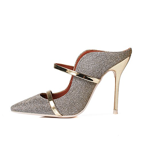 GAOLIM Spring Tip Light Is Fine With The 亮 Ultra-Like Metal Evening Women'S Singles Shoes With Mother Wedding Shoes 33 215, The Gold 10 Cm High.