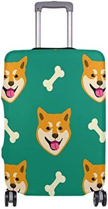 (ソレソレ)スーツケースカバー 防水 伸縮素材 キャリーカバー ラゲッジカバー 柴犬 グリーン 緑 かわいい 可愛い 可愛い おしゃれ 防塵 旅行 出張 便利 S M L XLサイズ