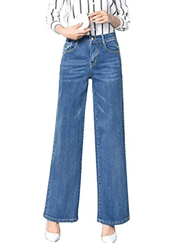 (D.B.M Ladies Loose Casual Stretch high Waist Straight Jeans Wide Leg Pants (X-Large, Blue))