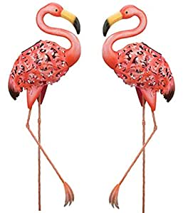 Solar Flamingo Garden Stake Statuary (Set of 2)