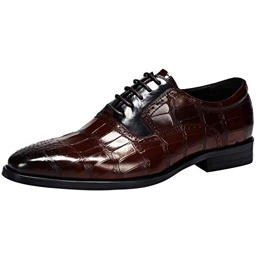 Vestido Boda Zapatos Cordones Bloque De Oxford Brogue Cuero Color Formal Hombres Zapato Genuino Puntiagudo Merryhe Con Coffee Para POdqZpwPA
