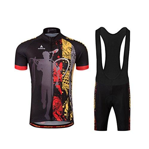 (Uriah Men's Cycling Jersey Bib Shorts Sets Short Sleeve Reflective Night Rider Size M(CN))