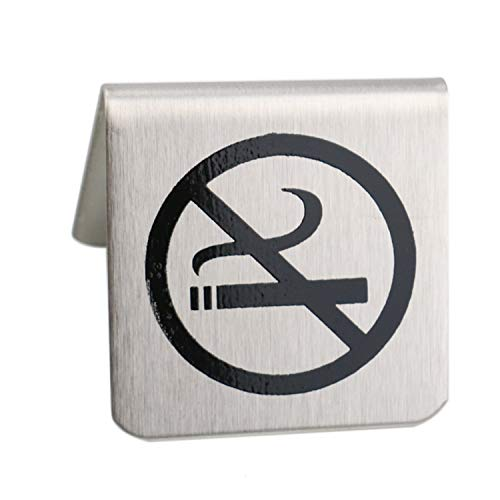 6x1.77 inch Stainless Steel Double Sided No Smoking Table Tent Sign ()