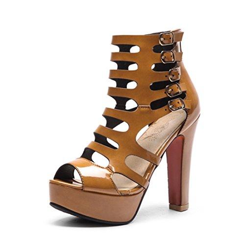 donne pu super tacchi spillo sandali sandali stivali stivali a pesce 6 le freddo sexy bocca di giallo di svuotata sono 40 dzTx1qwf