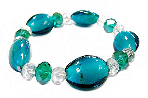 Linpeng Lampwork Glass Beads with Faceted Crystal Stretch Bracelet, Emerald Oval Candy