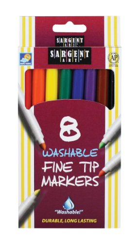 8-Count Washable Fine Tip Markers ()