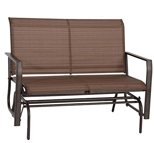 Kozyard Cozy Two Rocking Love Seats Glider Swing Bench/Rocker for Patio, Yard with Textilence Seats and Sturdy Frame (Tan)