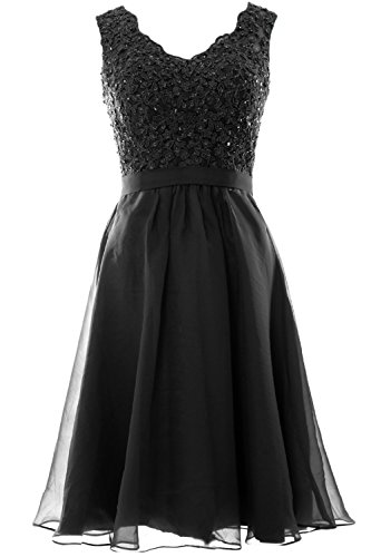 MACloth Women V Neck Vintage Lace Chiffon Short Prom Dresses Wedding Party Gown Negro