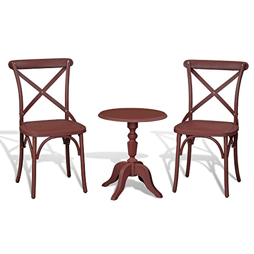 3PCS Patio Set Outdoor Indoor HEAVY DUTY Classical Plastic Nylon Cross Back Dining Chairs with Table (Cuba Coffee) -