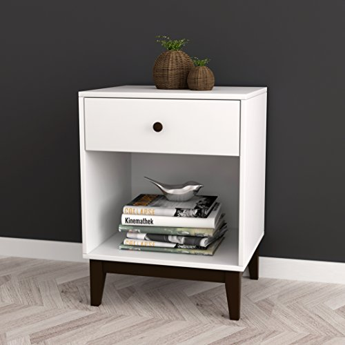 White / Espresso Contemporary Nightstand Side End Table Open Storage with Drawer 25''H by eHomeProducts