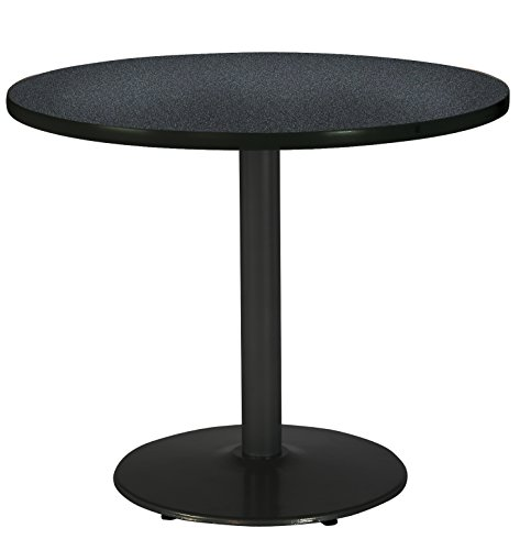 KFI Seating Round Black Base Pedestal Table with Top, Graphite Nebula, 30