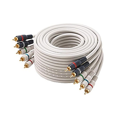 50' FT 5-RCA Male Component Video Audio Ivory Ribbon Color Coded RGBRW Gold Plated Connectors Python Cable Stereo Double Shielded 5- RCA A/V Cable Digital Signal Jumper