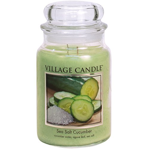Village Candle Sea Salt Cucumber 26 oz Glass Jar Scented Candle, Large