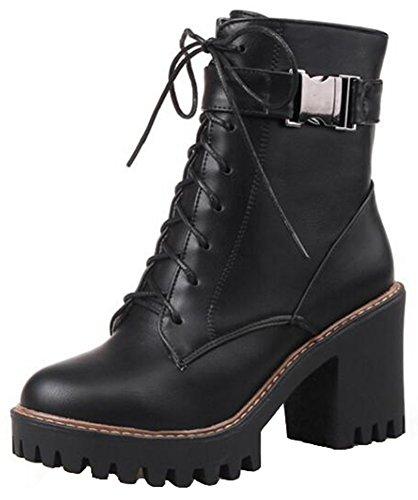Summerwhisper Women's Stylish Buckled Straps Lace up Round Toe Block High Heel Platform Short Boots Black 7.5 B(M) US