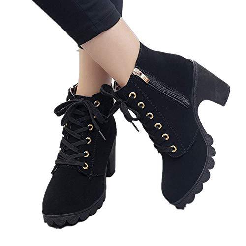 Velours Boots Cuir Basse 41 Automne Cm De Lacer Fourrure Bottines Avec Noir Hiver A La Rouge Vert Kaki Confortable Elegante Joyto Femme Talon Plateforme Fashion 8 35 Wna77FXp