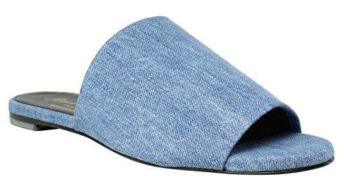 Robert Clergerie New Womens Blue Slides Size 6.5
