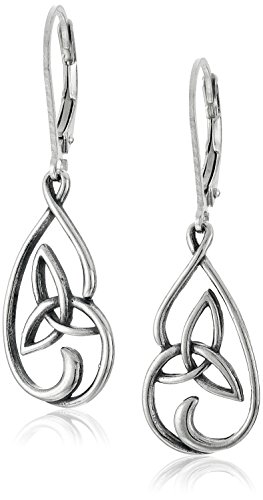 Sterling Silver Oxidized Celtic Triquetra Trinity Knot Leverback Dangle Earrings