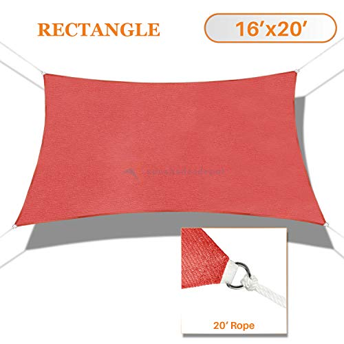 Sunshades Depot 16' x 20' Sun Shade Sail Rectangle Permeable Canopy Red Customize Commercial Standard 180 GSM HDPE