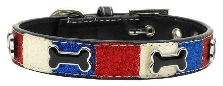 Mirage Pet Products Patriotic Ice Cream Dog Collar with 3/4-Inch Matching Leash for Dogs, Medium, Bones