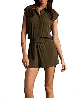 fad433d31b61 Amazon.com  The Reformation Ricky Army Fold Over Collar Sleeveless Romper  EMX0060  Clothing